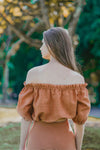 MIA RUFFLED OFF SHOULDER TOP (BURNT ORANGE)