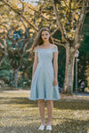 NAOMI OFF SHOULDER MIDI DRESS (SKY)