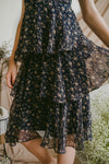 NIGHTINGALE CHIFFON MIDI DRESS (NAVY)