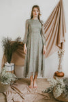 BELLE LONG SLEEVED CHIFFON MAXI DRESS (ASH GREEN)