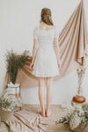 SWEET HEART GATHERED BUST MINI DRESS (WHITE)