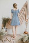 SWEET HEART GATHERED BUST MINI DRESS (BLUE)
