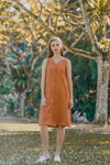 SIENNA SLEEVELESS SHIFT DRESS (BURNT ORANGE)