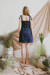 LUNA EYELET KNOTTED STRAP DRESS (NAVY)