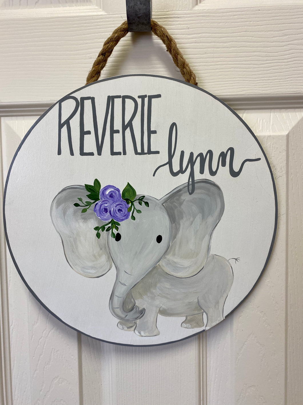 Custom Elephant Name Round (12 inch)