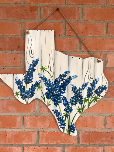 Faux Rustic Wood with Texas Bluebonnets