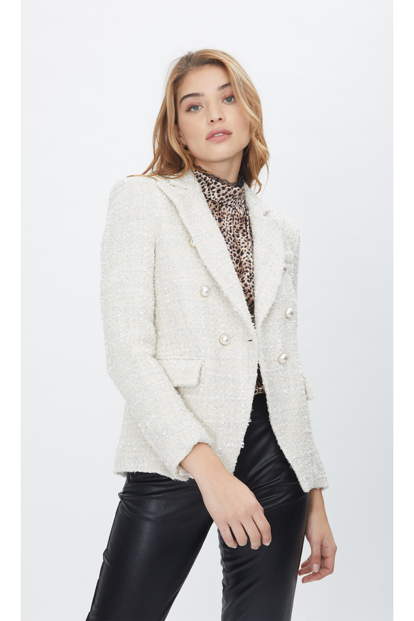 Alexa Tweed Blazer in Fancy Cream