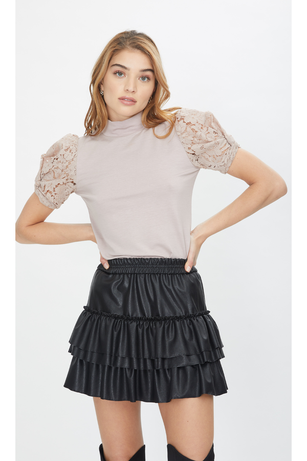 Lauryn Vegan Leather Skirt in Black
