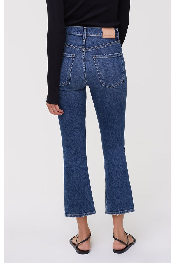 Demy Cropped Flare Denim in Distressed Tempo
