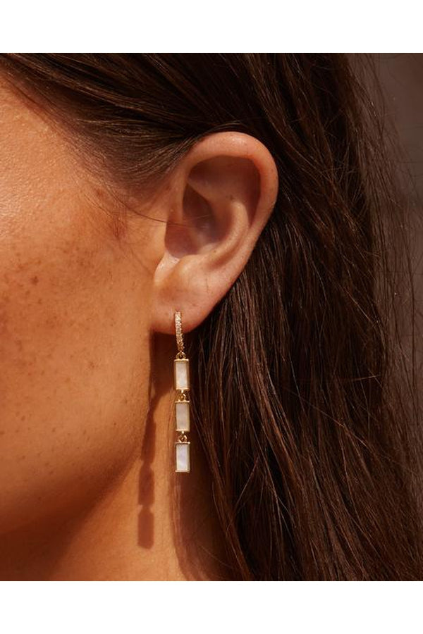 The Mother of Pearl Disc Drop Hoops in Gold