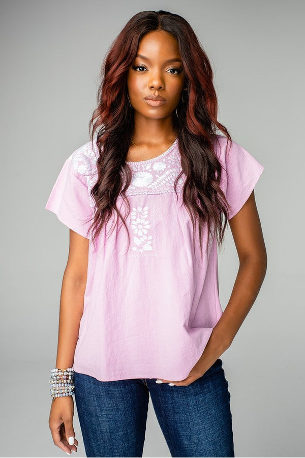 Anniston Short Sleeve Embroidered Top