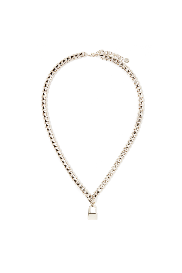 Lock Necklace Collar Length in Silver
