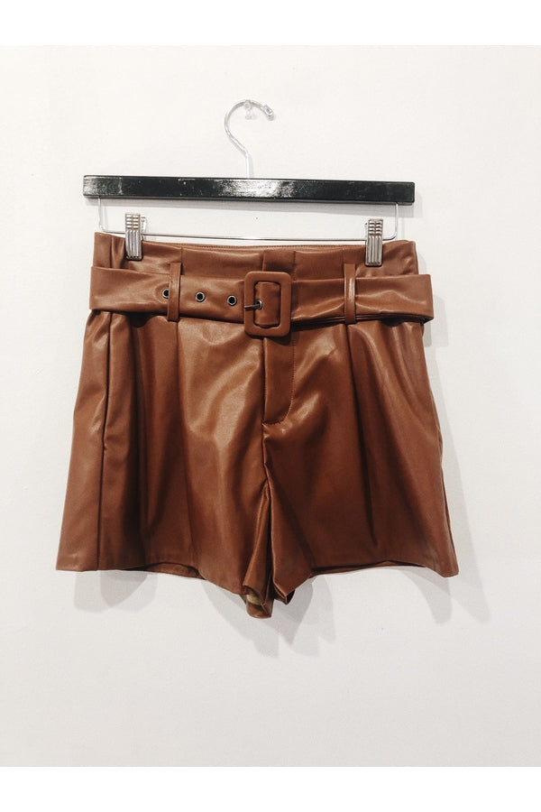 Belted Faux Leather Shorts in Brown