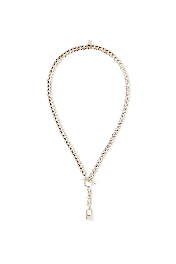 Lock Necklace Lariat in Silver