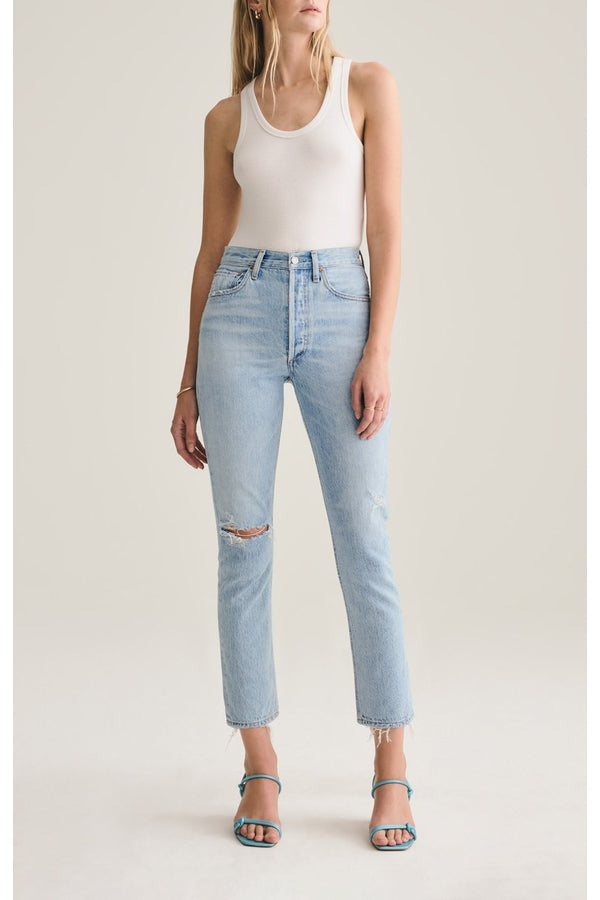 Riley Crop Hi Rise Straight Crop Jean in Shatter