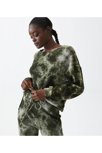 Ezra Tie Dye Sweatshirt in Dark Matcha