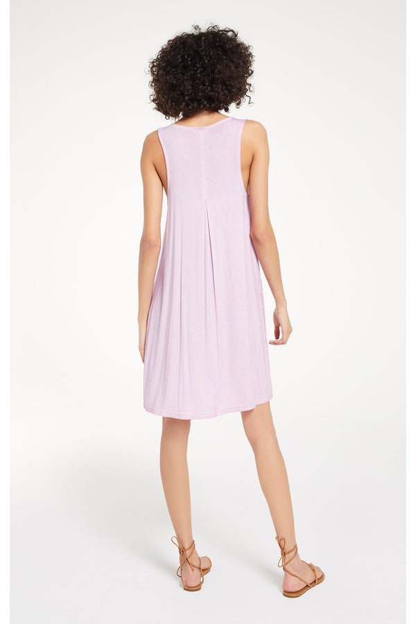Bay V-Neck Dress in Pink Lavender