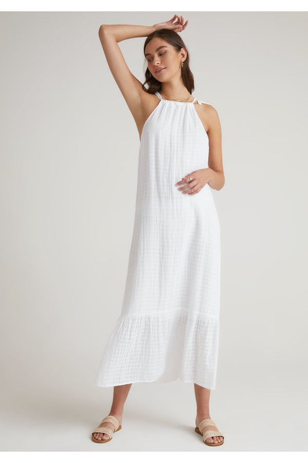 Ruffle Hem Halter Maxi Dress
