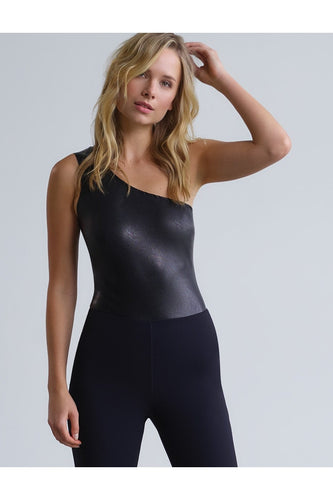 Faux Leather One-shoulder Bodysuit