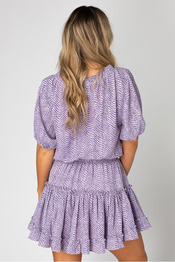 Ray Elastic Waist Mini Dress in Iris