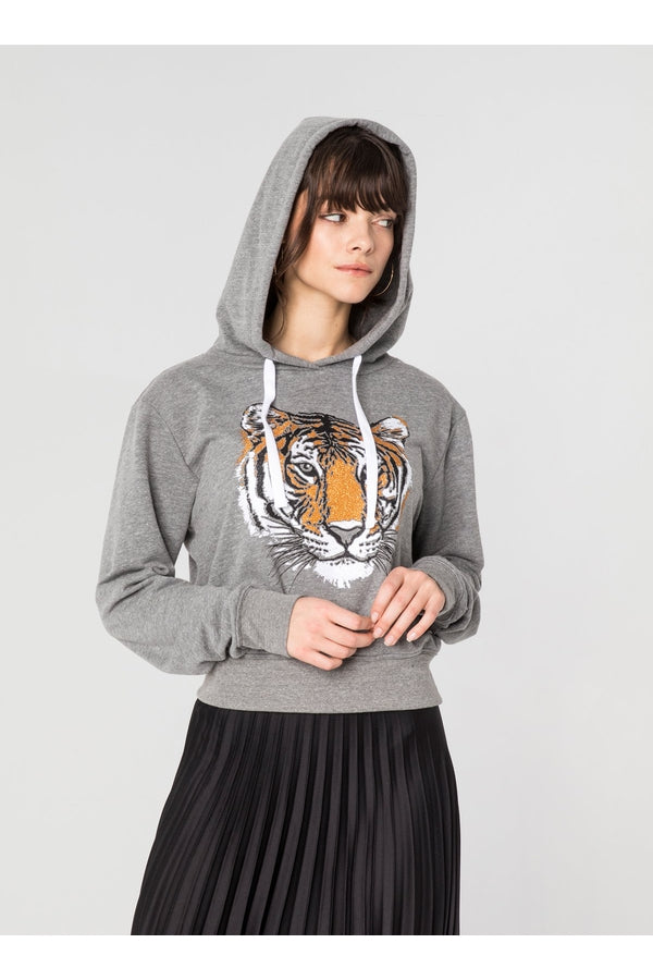 Studded Tiger Crop Pullover Hoodie