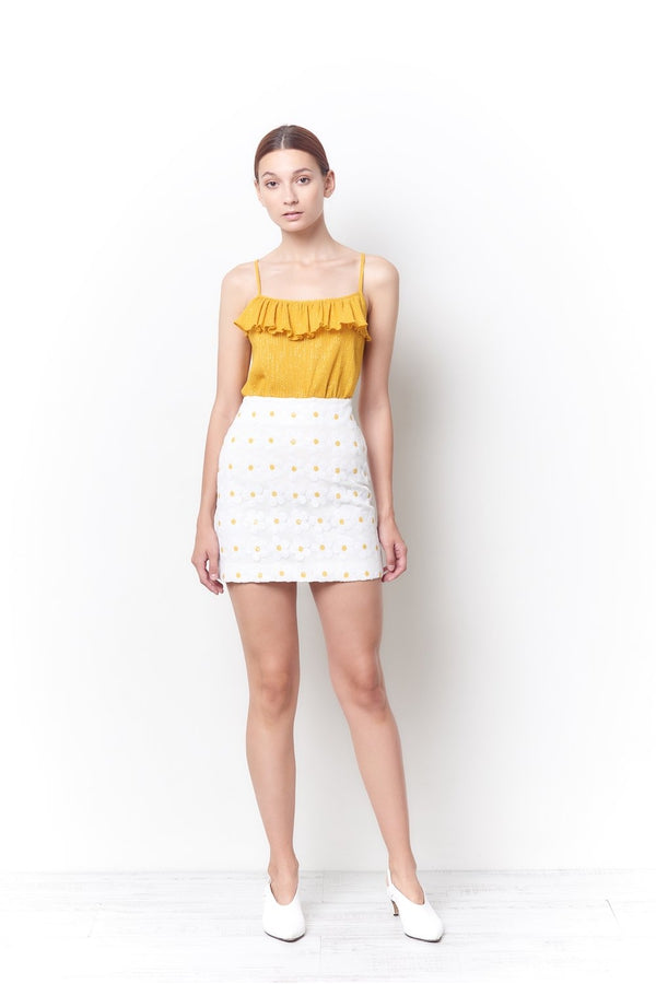 Sylvie Mini Skirt in Daisy Sequin
