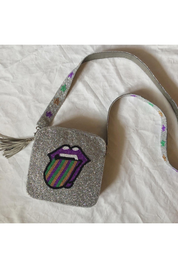 Load image into Gallery viewer, Hemline EXCLUSIVE Rolling Stones Mardi Gras Cross-Body Silver with Stars - HEMLINE