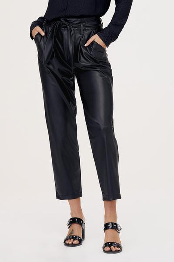 Lexi Belted Paperbag Waist Trouser in Black