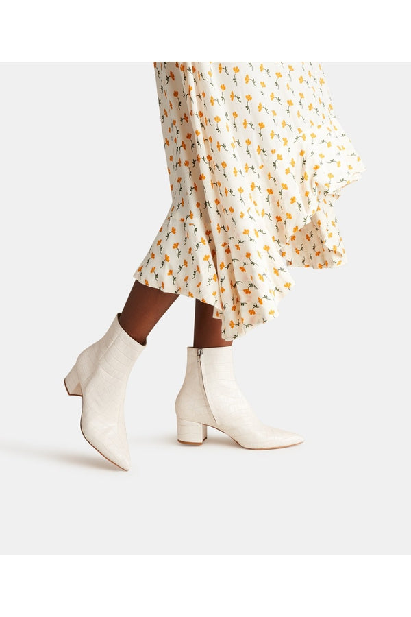 Bel Bootie in Ivory Croco Print Leather