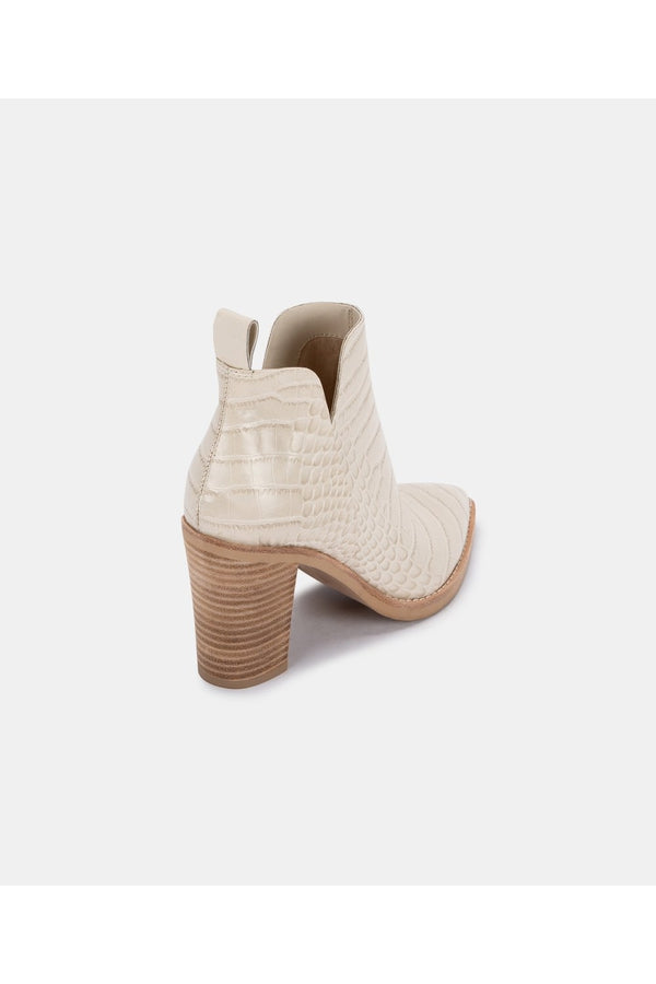 Shanon Booties in Eggshell Croco Print Leather