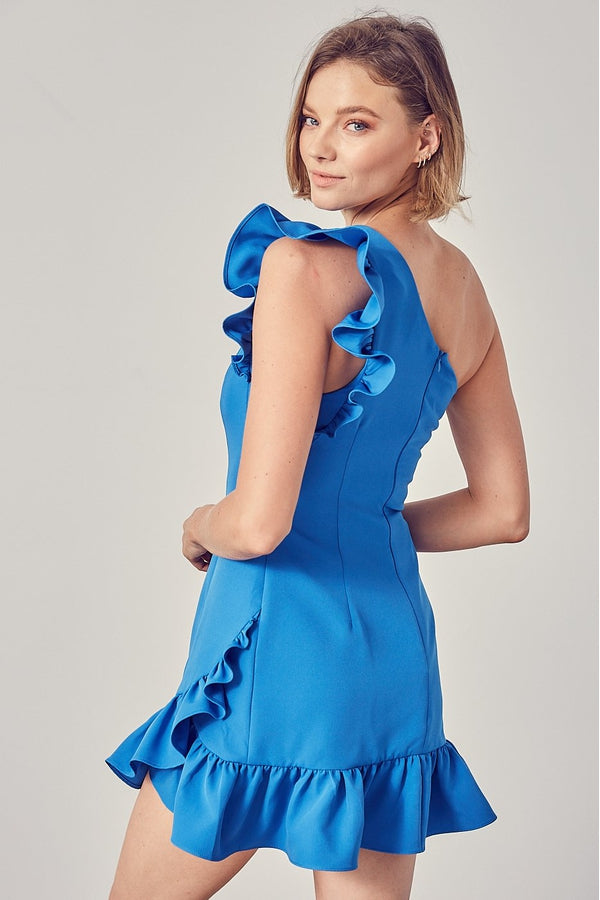 One Shoulder Ruffle Dress in Royal Blue