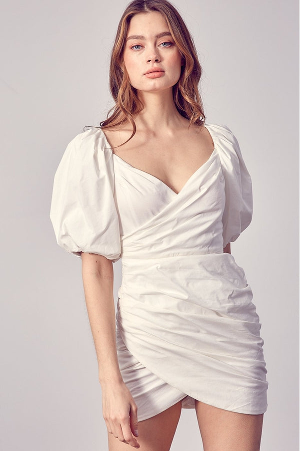 Ruched Puff Sleeve Dress in White