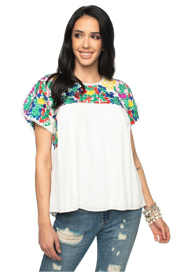 Greek Short Sleeve Embroidered Top