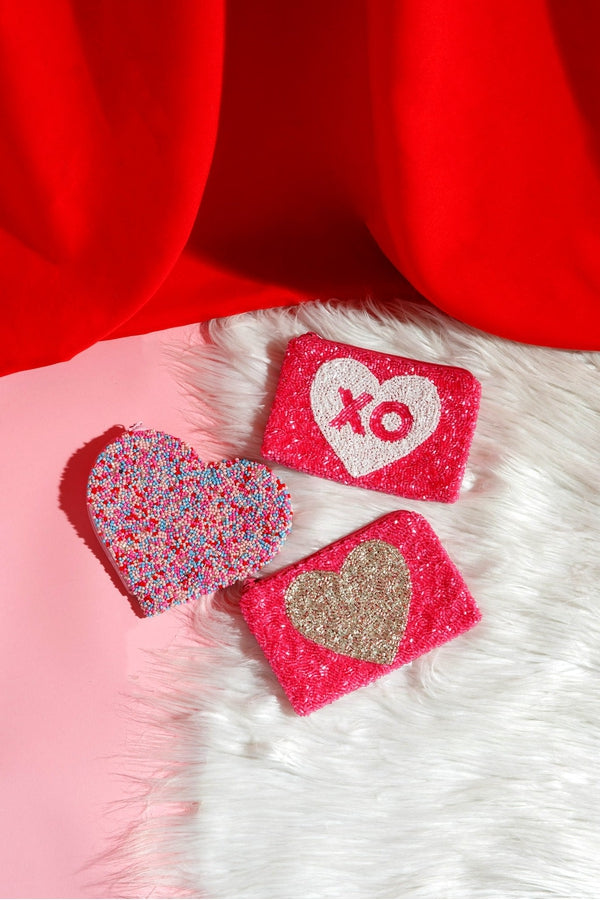Pink Coin Purse with White Heart