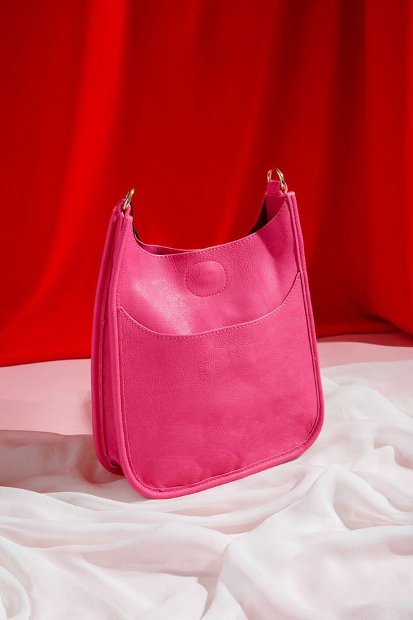 Soft Faux Leather Messenger Bag NO STRAP in Pink