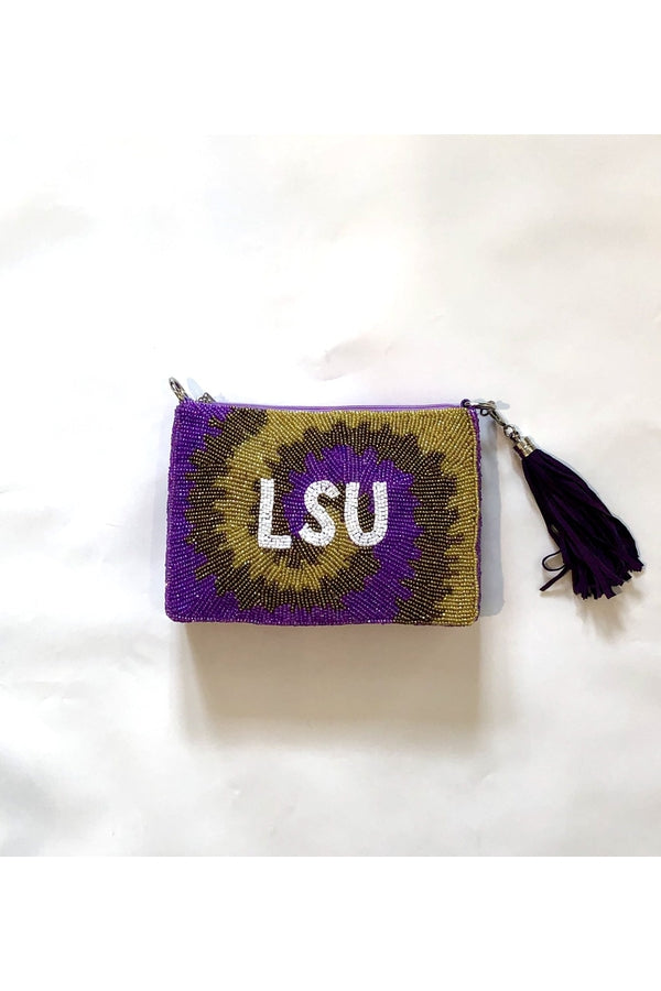 Hemline Exclusive LSU Tie-Dye Swirl Cross Body Bag