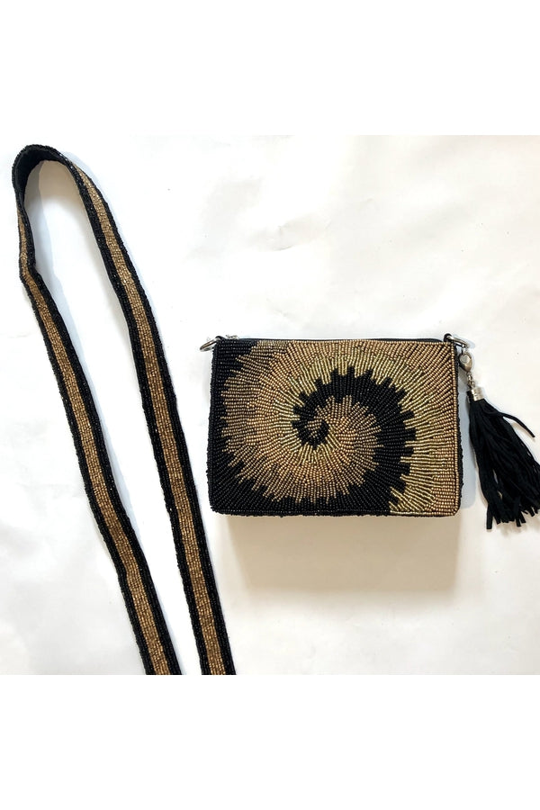 Hemline Exclusive Black and Gold Swirl Tie-Dye Cross Body Bag