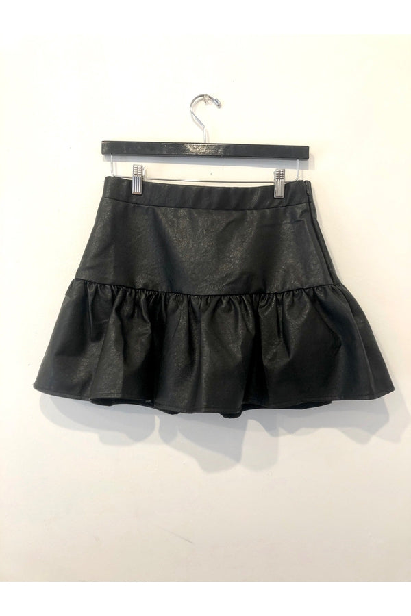 High Waisted Ruffled Pleated Leather Skirt in Black
