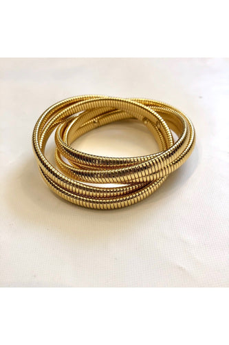 5 Row Cobra Bracelet in Gold