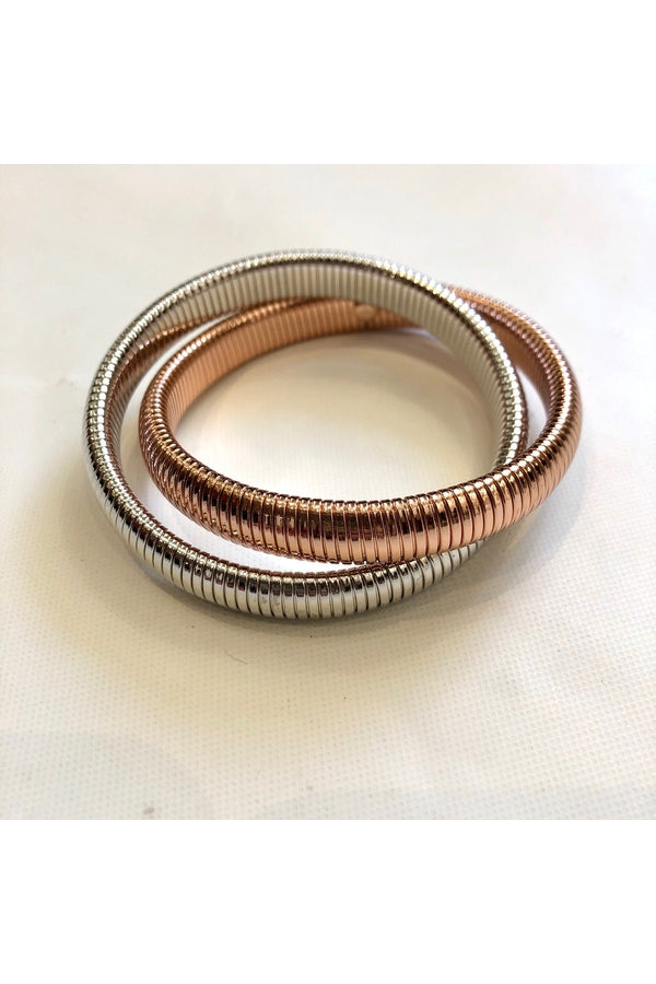 Rose Gold and Rhodium Double Cobra Bracelet