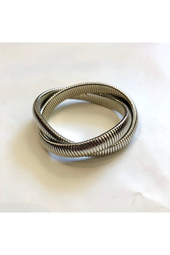 Rhodium Twist Bangle