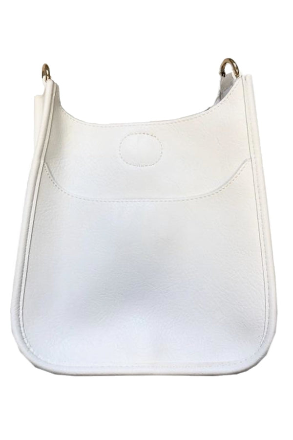 Soft Faux Leather Messenger Bag NO STRAP in White