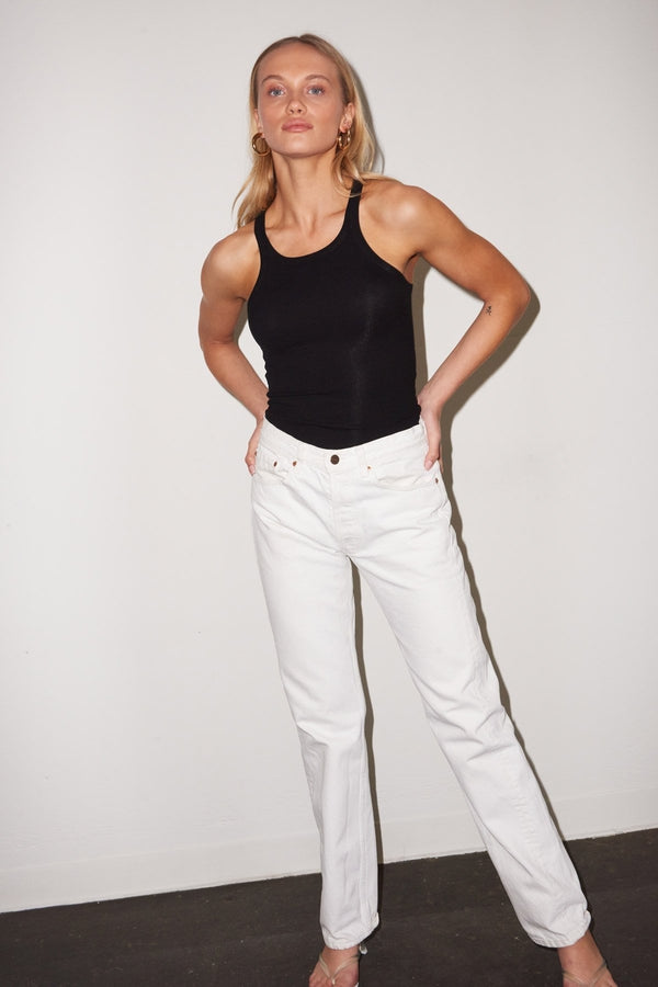 Ribbed Skinny Racer in Black