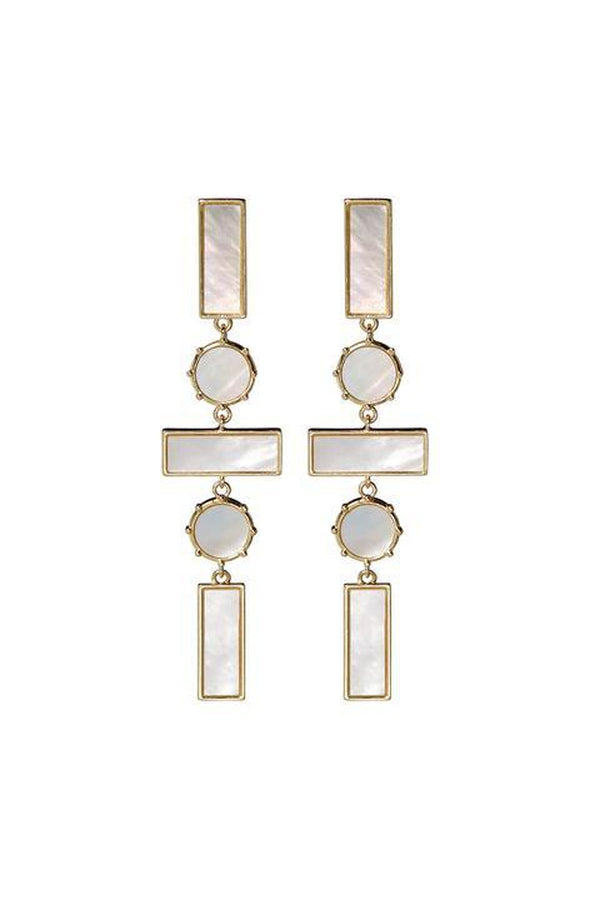 Mother of Pearl Mosaic Drop Earrings in Gold