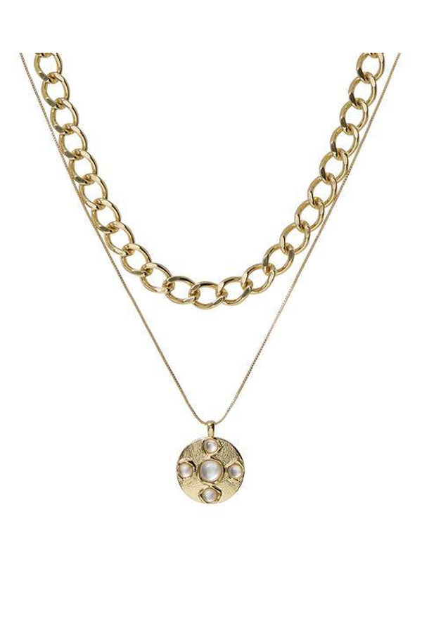 Mother of Pearl Coin Necklace Set in Gold