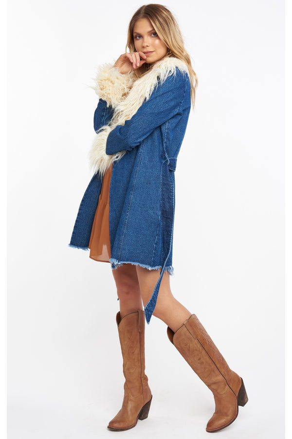 Penny Lane Coat in Pacific Tide with Faux Fur