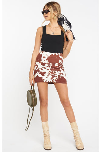 Roxanne Mini Skirt in Holy Cow