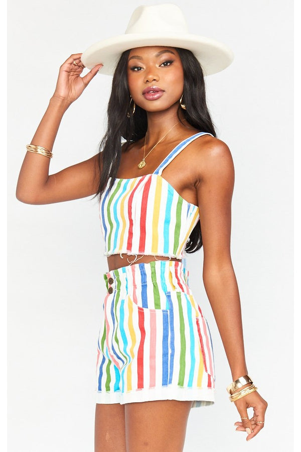 Emilia Short in Rainbow Road Stripe
