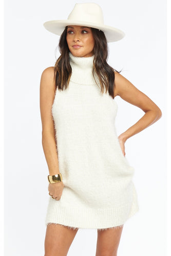 Fauna Dress in Fuzzy Cream Knit
