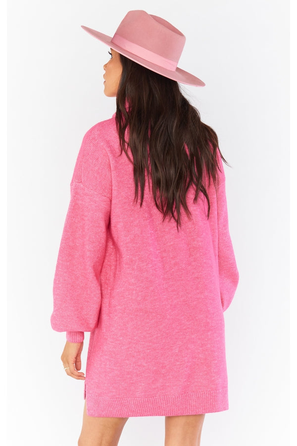 Chester Sweater Dress in Hot Pink